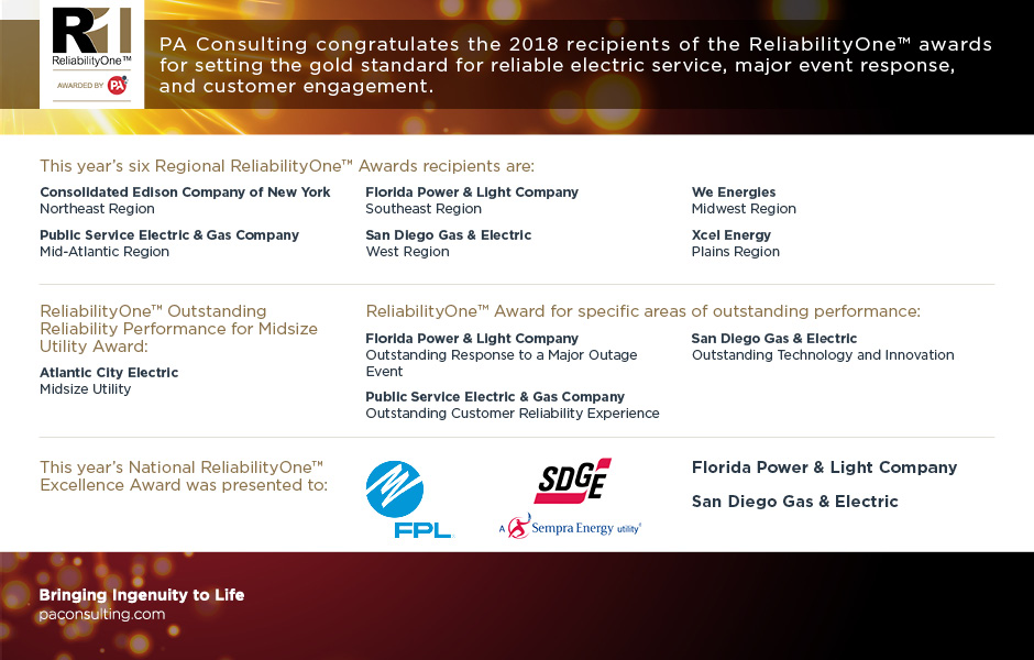 ReliabilityOne 2018 award winners