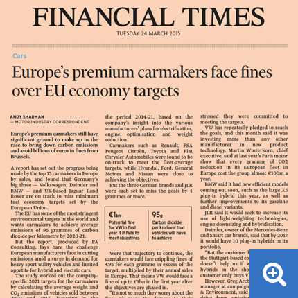 Europe's premium carmakers face fines over EU economy targets Financial Times 23 March 2015